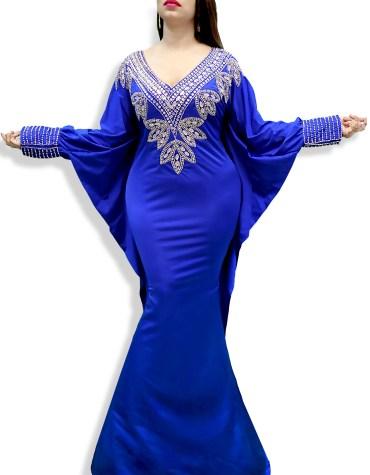Designer Deep Neck Moroccan Beaded Long Modest Royal Blue Spandex Kaftan