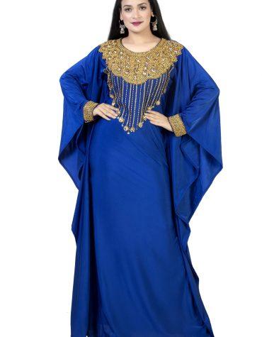 Gold Beaded Wedding Evening Party Wear Moroccan Royal Blue Lycra kaftan