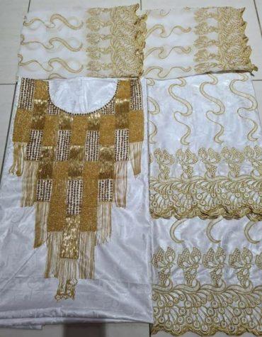 Elegant African Dress Material With 100% Super Magnum Gold Getzner Bazina