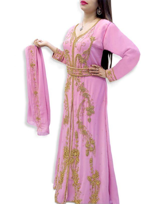 Golden Beaded Work Muslim Wedding Wear Front Slit Chiffon Kaftan Dress For Women
