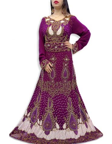 Latest Premium Golden Moroccan Beaded Work Dubai Kaftan Muslim Wedding Dress For Women