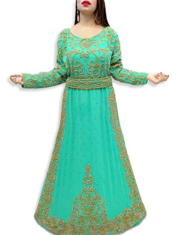 Elegant Embroidered Abaya Dubai Kaftan New Muslim Wedding Dress Gown For Women