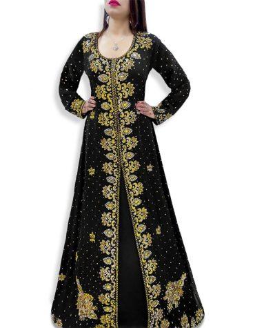 New Long Sleeved Golden Work Wedding Wear Front Slit Chiffon Kaftan Dress For Women
