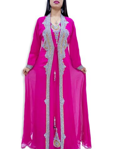 Silver Stone Beaded Jacket With Beaded Inner Dress Dubai Kaftan Muslim Wedding Dress For Women