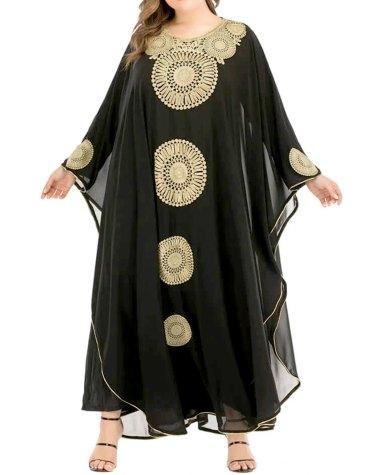 Elegant formal Golden Beaded Bat-wing Sleeve African Dresses for Women Kaftan