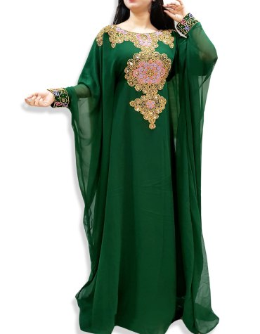 Elegant Moroccan Beaded Abaya African Green Maxi Dresses for womens Evening Kaftan
