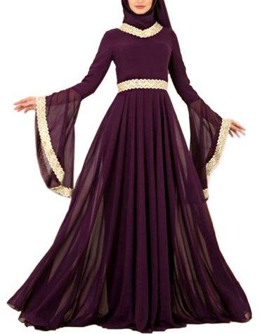 Latest Floral Designer Golden Lace Work Evening Party Wear Kaftan Dresses For Women
