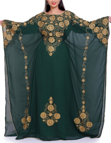 Latest Festival Collection Chiffon Kaftan With Golden Embroidered Work Dress For Women