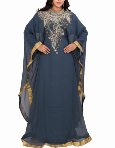 Designer Dubai Kaftan Elegant Jalabiya Maxi Gown Work Golden Beaded African Dress