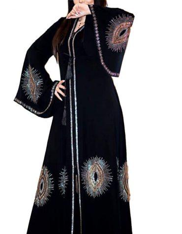 New Fashionable Rhinestone Beaded Umbrella Sleeves Stylist Dubai Abaya Kaftan