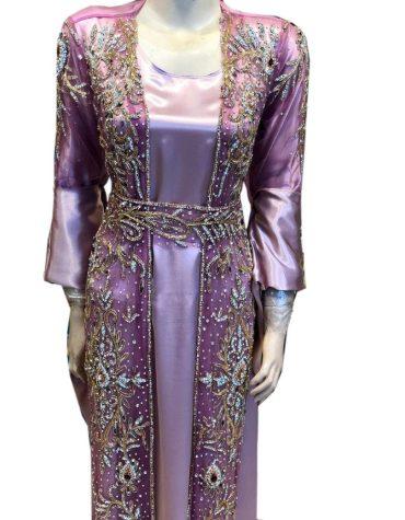 New Arrived Premium Quality Eid Edition Plus Size Heavy Crystal Stone Beaded Net Kaftan