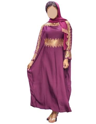 Latest Golden Rhinestone Satin Beautiful Long Sleeves Designer Kaftan for Women