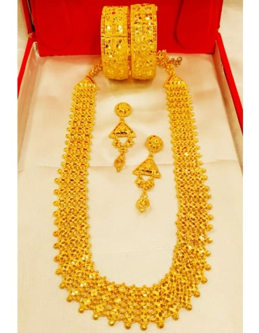 Premium Latest Long 2 Gram Gold Jewellery Necklace and Earrings With Bracelet Set For Women