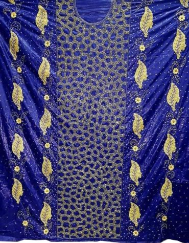 Latest Golden Floral Embroidery100% Super Magnum Gold Getzner Riche Bazin Dress Material