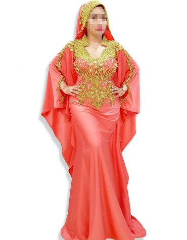 Gold Embellished Beaded African Formal Dresses Gown Long Lycra Kaftan with Scarf