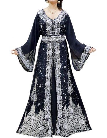 Wedding Abaya Long Maxi Formal Beaded Dubai Kaftan for Women