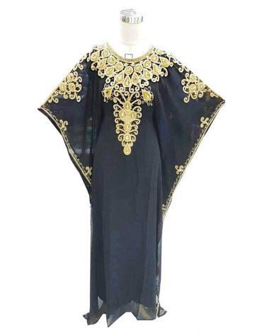 African Beautiful Chiffon Embroidery Moroccan Beaded Elegant Women Dubai Kaftan