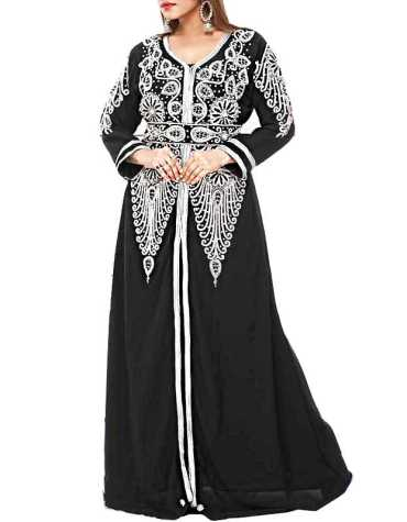 African Trendy Dubai Kaftan Elegant Party Wear Gown Beaded Work Dress For Women