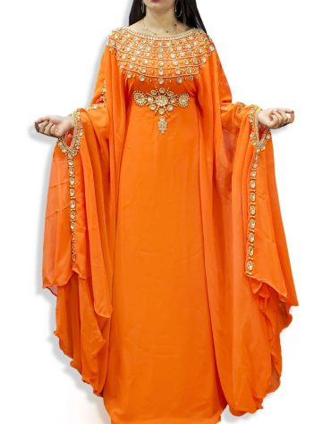 African Attire Moroccan Crystal Beaded Farasa Dresses Abaya for Women Dubai Kaftan
