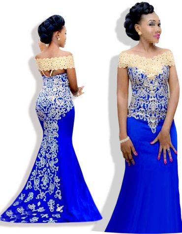 Latest Designer Evening Dress Off Shoulder Slim Mermaid Gold Embroidery Floor Length