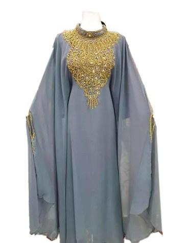 Designer Floral Moroccan Crystal Beaded Farasa Dresses Abaya for Women Dubai Kaftan