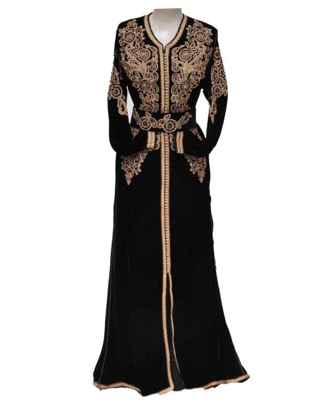 Floral Latest Front Cut Long Golden Beaded Dubai Based Design Chiffon Kaftan For Women