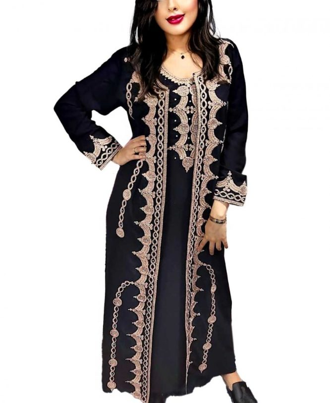 Festival Trend Golden Work Wedding Wear Front Slit Chiffon Kaftan Dress For Women