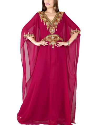 Party Designer Dubai Kaftan Elegant Jalabiya Maxi Gown Beaded Work Dress For Women