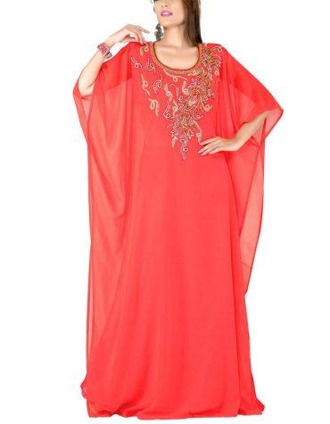 Latest Designer Kaftan Elegant Jalabiya Maxi Gown Super Beaded Work Dress For Women