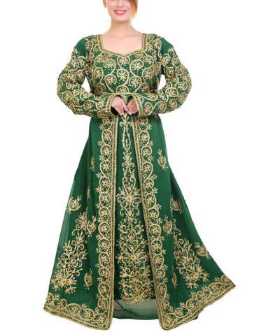 New Floral Golden Embroidery Work Dubai Kaftan Muslim Wedding Party Dress For Women