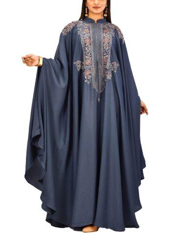 New Fashion Floral Attire Party Wear Collection Satin Sik Farasa Dubai Dress For Women