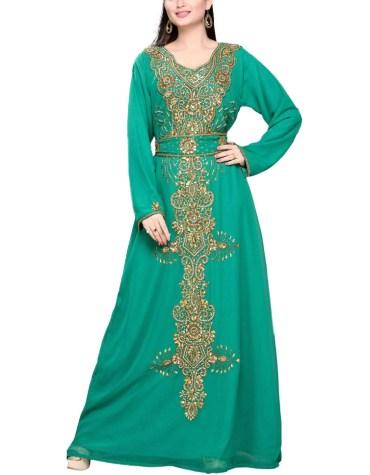 New Designer Heavy Golden Beaded Party Wear Plus Size Fancy Gown Dresses For Women