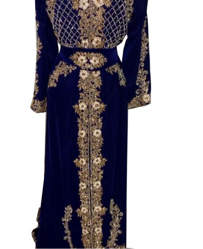 Special Eid Edition Royal Look Elegant Silver Crystal Beaded Velvet Kaftan For Women