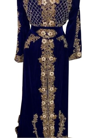 Special Eid Edition Royal Look Elegant Silver Crystal Beaded Velvet Kaftan For Women