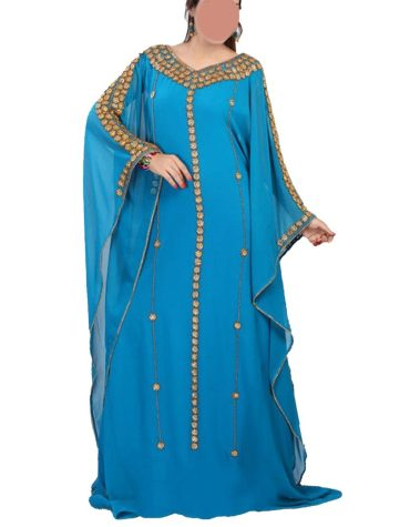 Designer Collection Kaftan with Round Beads Work on Neck Line and Sleeves For Women