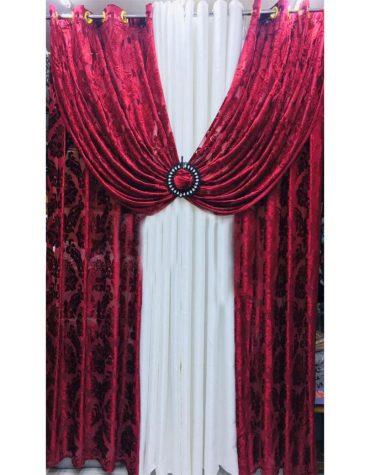 Home Decor 2 Piece Floral Design Heavy Curtains Burgundy & white combo