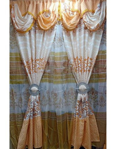 Home Decor 2 Piece Royal Look Design Heavy Curtains Golden & white combo