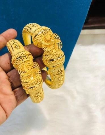 Fancy Flower Designed 2 Gram Gold Plated Bangles Set for Women