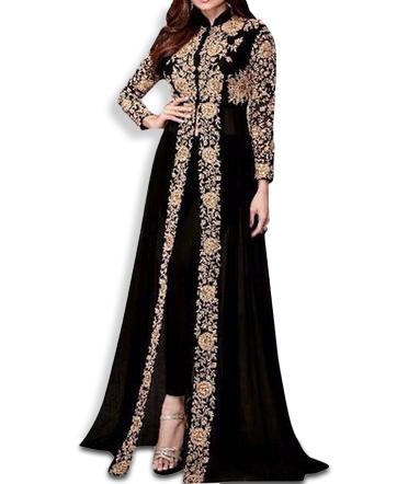 Fancy Heavy Indian Embroidery Work Chiffon Anarkali Dress For Women