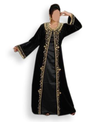 Designer Classic Embroidered Elegant Satin Silk Dubai Kaftan For Women