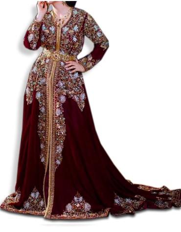 Premium Golden Floral Embroidery Party Wear Fancy Kaftan For Women