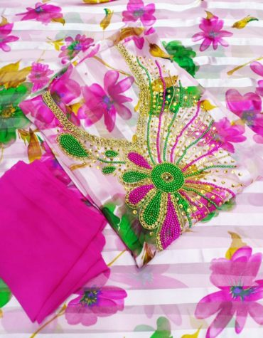 Elegant Magnolia Floral Printed Glossy Satin Silk 3 Peice Dress Material For Women