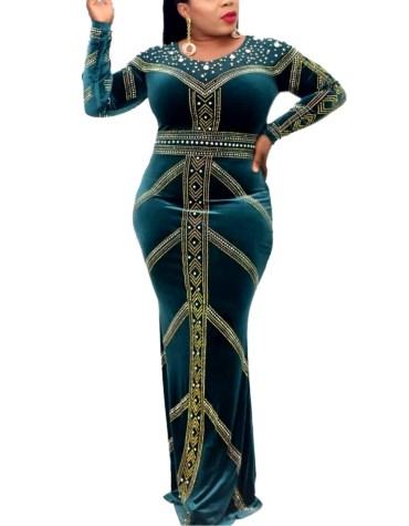 Luxury Collection Party Wear Elegant Super Rhinestone Beaded Velvet Gown For Women