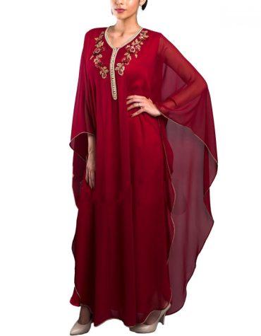 Premium Collection With Golden Stone Evening Party Wear Farasha Kaftan For Women