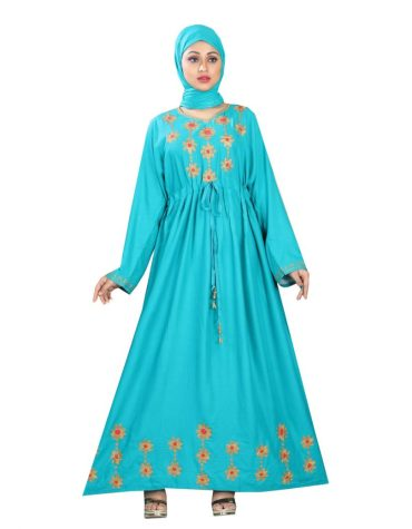 Outstanding Printed Embroidered Rayon Women Long Dress Stitched Floral Gown