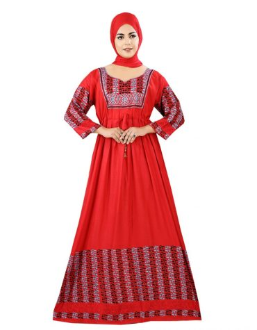 New Designer Embroidered Rayon Long Dress Stitched Gown for Women
