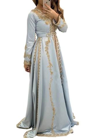 Golden Embroidery Full Sleeves Kaftan Elegant Satin Sik Prom Dress For Women