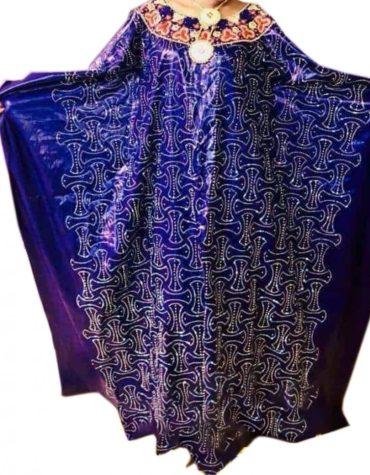 New Party Wear Design of Perlage 100% Getzner Bazin Boubou for Women
