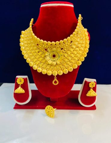 Party Wear 2 Gram Gold Jewellery Choler Necklace and Earrings Set For Women