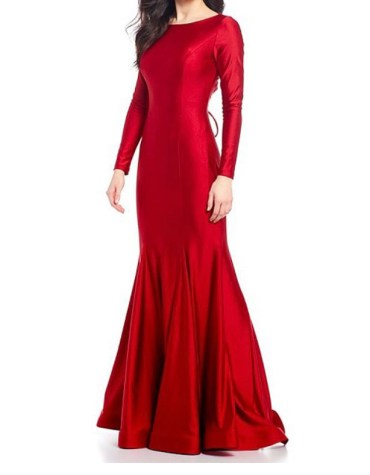 Trendy Plain Satin Silk Prom Dress With Fish Tail Layered Design For Women
